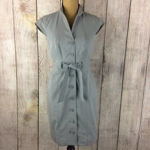 Calvin Klein Grey Belted Button Front Dress Sz 4